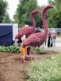 Figures of pink flamingos Stock Photography