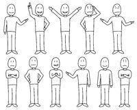 Figures in poses showing various moods and emotions in hand drawn style, male set Royalty Free Stock Photo