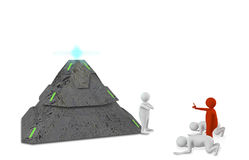 Figures with pyramid. Isolated on white Stock Image