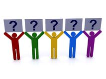 Figures with question marks. Set of different colored figures holding question marks in the air with a white background Stock Images