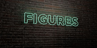 FIGURES -Realistic Neon Sign on Brick Wall background - 3D rendered royalty free stock image. Can be used for online banner ads and direct mailers Stock Photography
