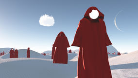 Figures in red robes in desert. Figures in red robes in the desert Royalty Free Stock Images