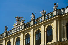Figures on the roof of  Schoenbrunn Royalty Free Stock Photo
