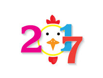 2017 figures with the rooster design. On white background Royalty Free Stock Photography