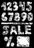 Figures sale. black sketch. Vintage Poster.  Royalty Free Stock Images