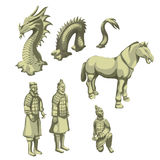 Figures of samurai, horse and serpent, big set Royalty Free Stock Photography