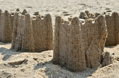 Figures from the sand in the form of a fortress Royalty Free Stock Images
