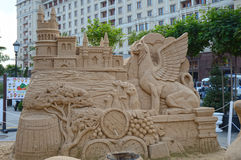Figures from the sand. Griffins, castle, monkey barrels, cypress trees Stock Photo