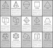 Figures Set, Sphere and Cone, Cube and Cuboid. Figures set, sphere and blunted cone, cube and cuboid, vector illustration, square and hexagonal pyramids Royalty Free Stock Photography