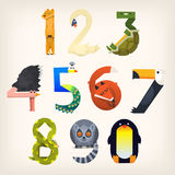 Figures shaped like animals. Set of animals shaped like numbers from 0 to 9. Vector illustrations for elementary education Stock Photo