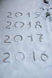 Figures 2017 on the snow. New year and christmas theme.  Royalty Free Stock Photos