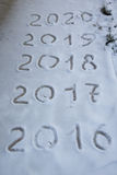 Figures 2017 on the snow. New year and christmas theme.  Stock Photos