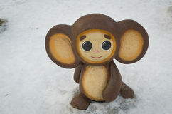 Figures from Soviet cartoons. Cheburashka in the Central Park named after Belousov. Winter evening Stock Photography