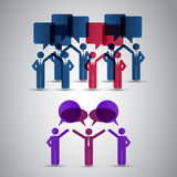 Figures with Speech Bubbles. Colorful Figures with Speech Bubbles Concept Illustration in Freely Scalable & Editable Vector Format Royalty Free Stock Photography