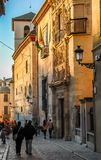Figures strolling along a Spanish street.Granada,Andalucia,Spain stock photos