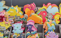 Figures to decorate a nursery on the Vallon Pont d`Arc market in Stock Images