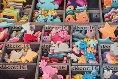 Figures to decorate a nursery on the Vallon Pont d`Arc market in Royalty Free Stock Photo