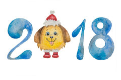 Figures to the new year of blue and fluffy dog in a red cap and boots painted with watercolor Stock Image