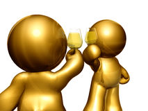 figures toasting drink together. Figures toasting wine together for business success Stock Photo