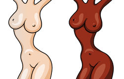 Figures of two naked beautiful girls isolated on white Royalty Free Stock Image