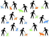 Figures walking dogs. Figures walking assorted colourful dogs Royalty Free Stock Photography