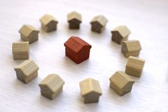 Figures of wooden houses. royalty free stock photography
