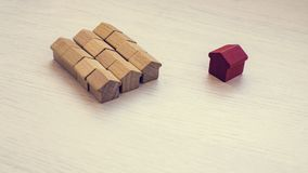 Figures of wooden houses. royalty free stock photo