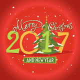 Figures 2017 and the words Merry Christmas. On a red background. Vector illustration of gifts. New year Stock Photography
