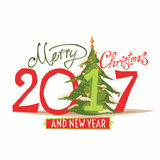 Figures 2017 and the words Merry Christmas. On a white background. Vector illustration of gifts. New year Royalty Free Stock Images