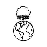 figurez la planète de la terre avec rainning et rayon de nuage Photo stock