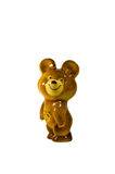 Figurilla olímpica soviética del oso aislada en el fondo blanco fotos de archivo libres de regalías