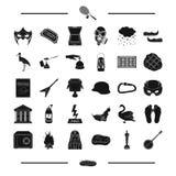 Figurina, banjo, lago e l'altra icona di web nello stile nero teatro, viaggio, icone del cinema nella raccolta dell'insieme illustrazione vettoriale