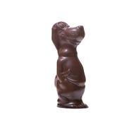 Figurina del cane fatta di cioccolato al latte saporito Fotografia Stock Libera da Diritti