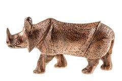 Figurina di legno di rinoceronte Fotografia Stock Libera da Diritti