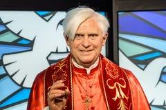 Figurina di Papa Benedetto XVI a signora Tussauds Wax Museum Fotografia Stock