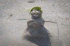 Figurina di un pupazzo di neve dalla sabbia, dalle coperture e dall'alga sulla spiaggia Fotografie Stock
