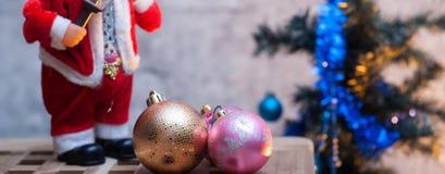 Figurine Санта Клаус знамени рождества, Стоковая Фотография