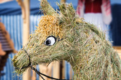 Figurine сделанный из соломы в форме лошади Стоковые Фотографии RF