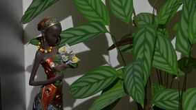 A figurine of an African girl near to a flower. A figurine of an African woman stands near to a green flower stock footage