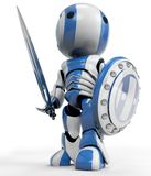 Figurine as warrior. Blue and white figurine with sword and shield Stock Image