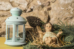 Figurine of Baby Jesus Christmas cards Stock Images