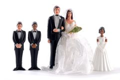 Figurine bride and groom with family Royalty Free Stock Photos