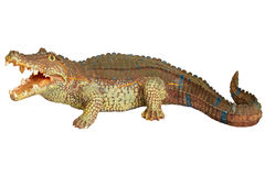 Figurine crocodile isolated white background Stock Photos