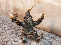 Figurine de nain de WrocLovek à Wroclaw Image libre de droits