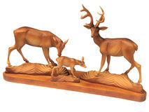 Figurine of a deer family - home decor isolated. Over white Royalty Free Stock Photography
