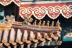 Figurine del tetto a Lama Temple, Pechino fotografie stock