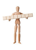 Figurine with eight empty text blocks Royalty Free Stock Image