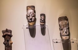 Figurine heads from Hittite ages. Foundings in excavation of Hattusa Bogazkoy Reliefs tablets statues walls gates cylinder seals stamp seals stock image