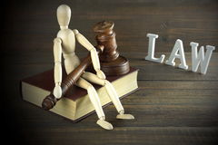 Figurine humaine avec les juges ou le commissaire-priseur Gavel Sit On Book Photographie stock