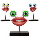 Figurine lips with eyes. On white backgraund Stock Photography